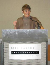 Shelley Morrison Presenting at Bell Harbor